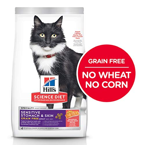 Grain Free Dry Cat Food by Hill's Science Diet, Adult, Sensitive Stomach & Skin, Salmon & Yellow Pea Recipe, 13 lb Bag