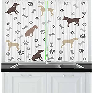 "Ambesonne Dog Lover Kitchen Curtains, Paw Print Bones and Dog Silhouettes American Foxhound Breed Playful Pattern, Window Drapes 2 Panel Set for Kitchen Cafe Decor, 55"" X 39"", Umber Beige 8"