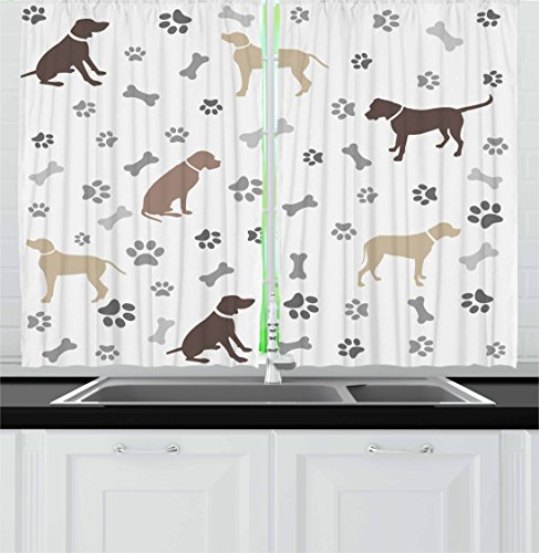 """Ambesonne Dog Lover Kitchen Curtains, Paw Print Bones and Dog Silhouettes American Foxhound Breed Playful Pattern, Window Drapes 2 Panel Set for Kitchen Cafe Decor, 55"""" X 39"""", Umber Beige"""