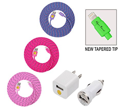 High Quality NEWLY DESIGNED - 10ft(3m) 3pack Braided Nylon Lightning Charging Cables for Apple iPhone 6/6 Plus, iPhone 5 5C 5S, iPad 4 Mini, iPod Touch/Nano 7, with Compact Car Charger + Wall Adapter (Purple-hotpink-pink)