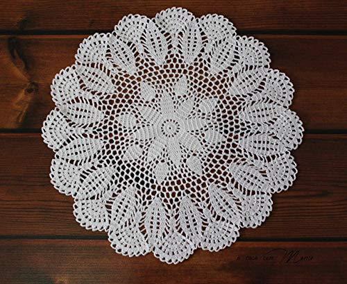 Mantelito redondo algodón crochet- hecho a mano en italia: Amazon ...