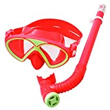 YITU Kids Silicone Scuba Swimming Diving Mask Snorkel Glasses Set Anti Fog Goggles (Red)