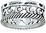 Sterling Silver''I Love You to The Moon and Back'' Ring, Size 7