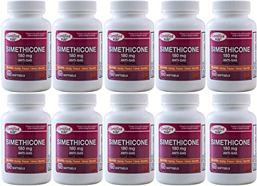 Simethicone 180 mg 1800 Softgels Anti-Gas Generic for Phazyme Ultra Strength Fast Relief of Stomach Gas and Bloating 180 Gelcaps per Bottle Pack of 10 Total 1800 Gelcaps