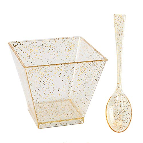200 Pieces PLastic Dessert Cups with Mini Spoons Gold Glitter, Premium Quality, Includes 100 Pieces Disposable Square Cups 2 Oz and 100 Pieces Gold Mini Spoons