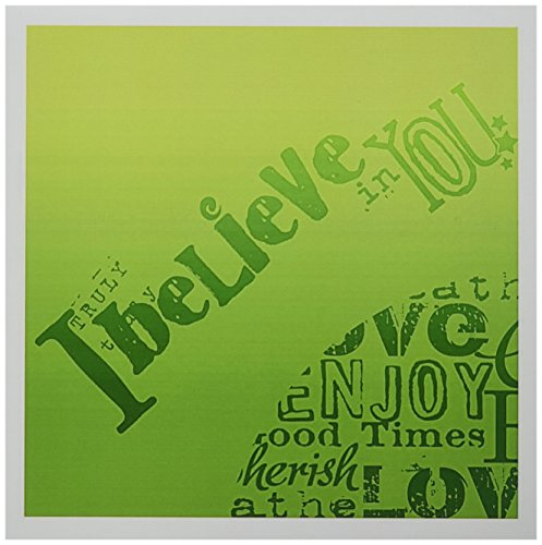 Believe Card - 3dRose Green I Believe in You Inspirational Word Art - Greeting Cards, 6 x 6 inches, set of 6 (gc_79057_1)