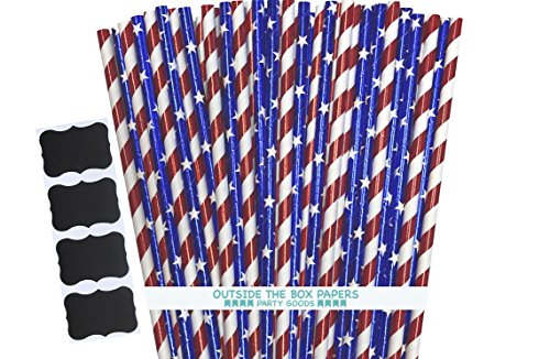 Red Stripe Paper Straws (Patriotic Theme Foil Paper Straws - Red White Blue - Stars and Stripes - 7.75 Inches - Pack of 100)