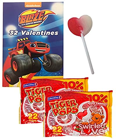 Blaze And The Monster Machines 32 Valentines Cards With Heart Swirl Lollipops Classroom Exchange for 32 (Exchange Valentines For Kids)