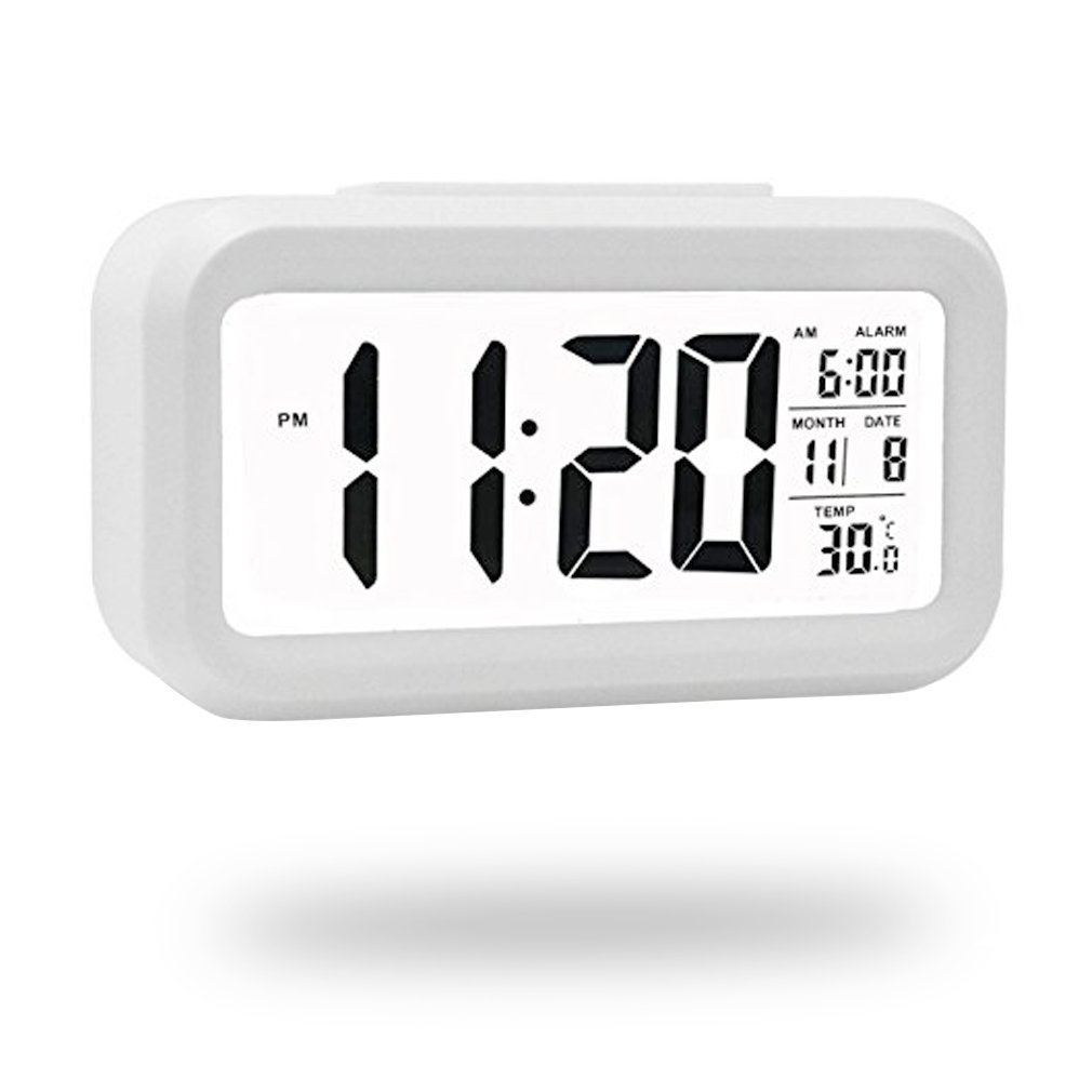 QIANXIANG Digital Alarm Clock, Battery Operated and Long Battery Life Alarm Clock with Back Light,Temperature,Snooze,Large Digit Display Alarm Clock for Kids/Heavy Sleepers/Bedroom/ Travel(White)