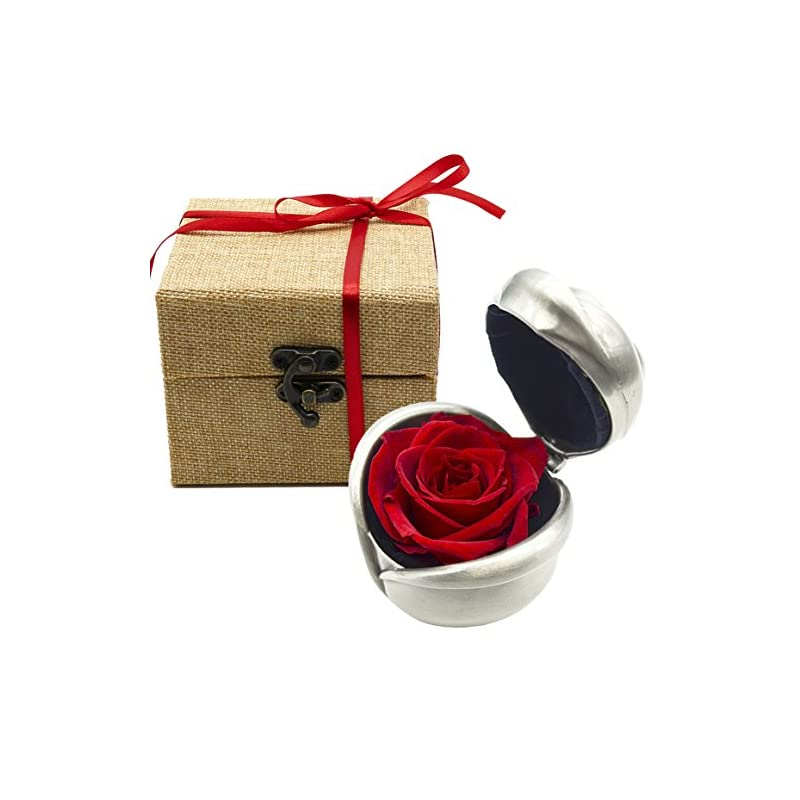 silk flower arrangements maymii handmade preserved flower, never withered roses, upscale immortal flowers, fresh roses, eternal life flowers for love ones, gift for valentine's day, anniversary, wedding (red rose)
