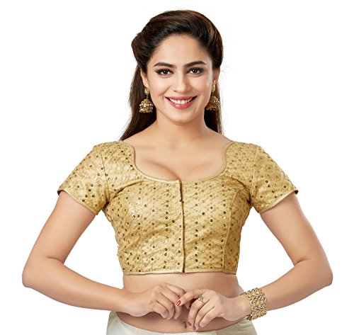 - TrendyFashionMall Readymade Embellished Sequin Work Saree Blouse Gold-05-M-40