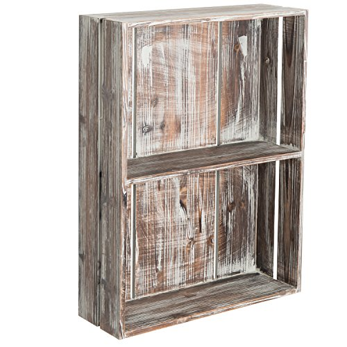 MyGift 24-Inch Rustic Torched Wood Crate Floating Display Shelf by MyGift (Image #4)