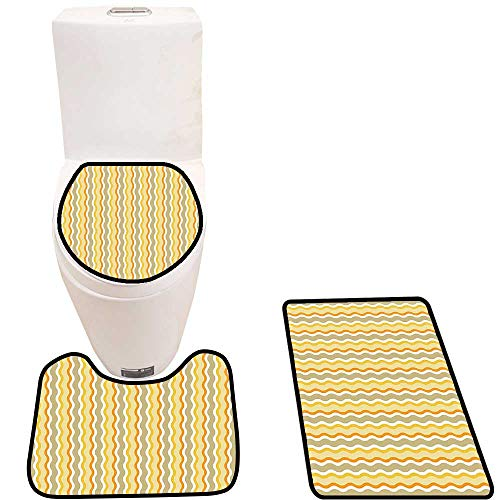 Stripe Marigold - Bathroom Non-Slip Rug Set Forms with Diamond Shaped Hexagons and Squares Stripe Image Marigold Light Yellow Beige in Bath Mat Bathroom Rugs