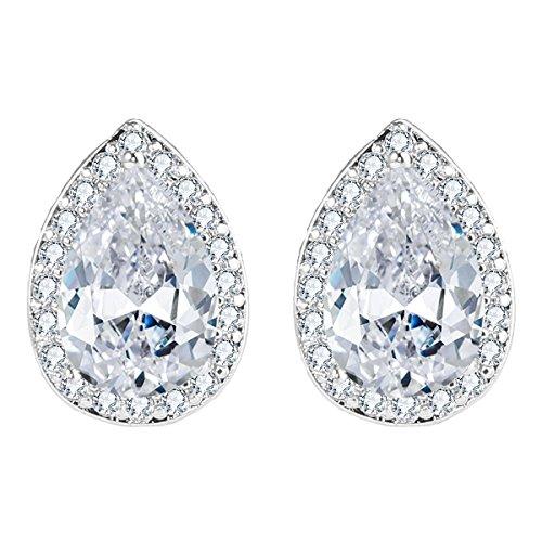 EVER FAITH Women's Cubic Zirconia Wedding Teardrop Prong Setting Stud Earrings Clear Silver-Tone - 0.6in - Stud Wedding Earrings