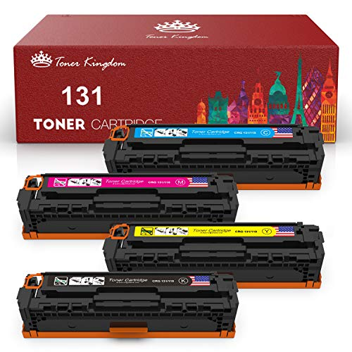 Toner Kingdom Compatible Toner Cartridges for HP 128A CE320A CE321A CE322A CE323A Canon 131 116 CP1525n CP1525nw CM1415fn CM1415fnw Canon MF8280CW (Black, Cyan, Magenta, Yellow, 4-Pack)