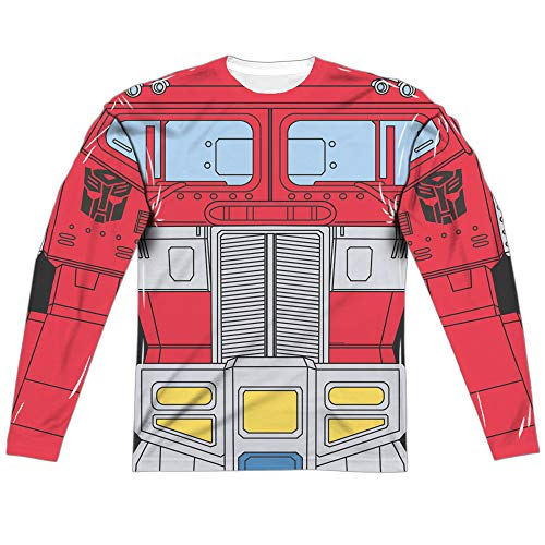 Transformers Optimus Prime Costume Unisex Adult Long-Sleeve Sublimated T Shirt for Men and Women, Medium White -