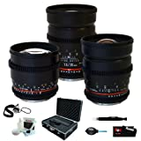 Rokinon Super-Fast T1.5 Cine 3 Lens Kit – 35mm + 24mm + 85mm for Canon + Protective Photography Hard Case + Accessory Kit