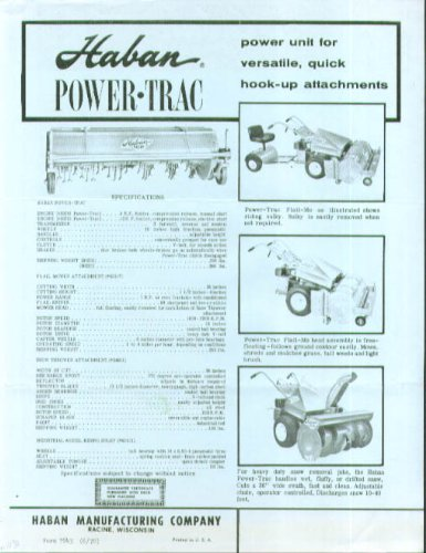 Haban Power-Trac Flail Mo mower blower 1970