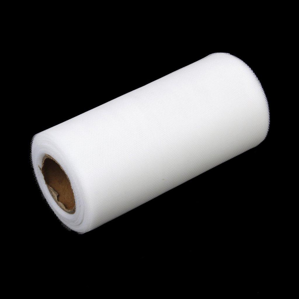 Rollos de gasa blanco R rollo de carrete hecho de gasa de decoracion de boda SODIAL