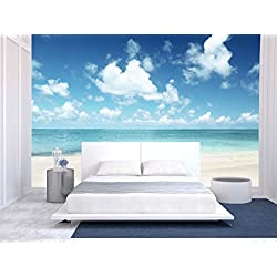 wall26 Sand of Beach Caribbean Sea - Removable Wall Mural | Self-adhesive Large Wallpaper - 100x144 inches