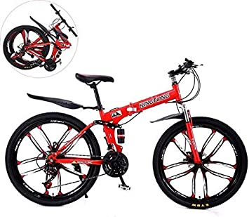YUHT Bicicleta de montaña, Bicicleta Plegable 26 Pulgadas Bicicleta Plegable de absorción de Doble Choque, Unisex Acero de Alto Carbono Velocidad Variable Bicicleta de montaña Bicicleta de Hombre: Amazon.es: Deportes y aire