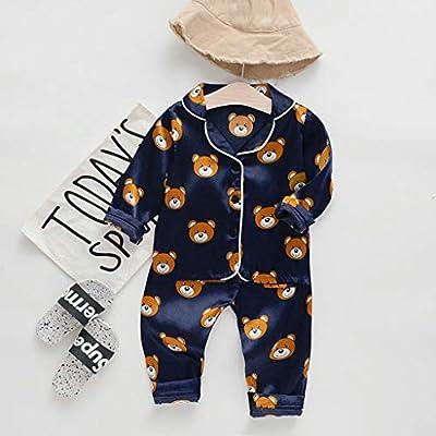 Toddler Baby Boys Girls Pajamas Sleepwear Homewear Outfits Silk Long Sleeve Cartoon Bear Shirt Tops Cotton Casual Loose Pants (Navy, 4-5 Years): Home & Kitchen
