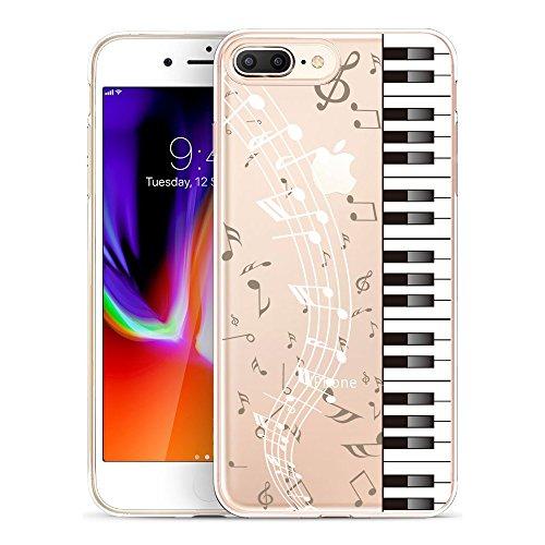 [해외]골드 스위프트 클리어 유연한 젤 케이스 아이폰 8 플러스 아이폰 7 플러스 아이폰 6S 플러스와 아이폰 6 플러스 강화 유리 화면 보호기 (음악 피아노) / GoldSwift Clear Flexible Gel Case for iPhone 8 Plus iPhone 7 Plus iPhone 6S Plus and iPh...
