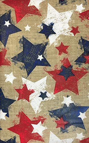 (Americana Vinyl Tablecloths - Burlap Red White and Blue Stars (60