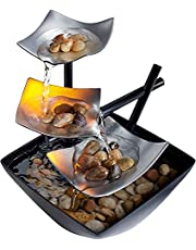Silver Springs Fuente de relajación | Cascada iluminada, piedras naturales, sonidos relajantes, fuente Zen de mesa | interior o exterior, interruptor de encendido/apagado, bomba automática | EnviraScape HoMedics