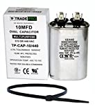 TradePro 10 uf MFD 370 or 440 Volt Fan Motor Run Oval Capacitor TP-CAP-10/440 Condenser for Air Handler Straight Cool/Heat Pump Air Conditioner