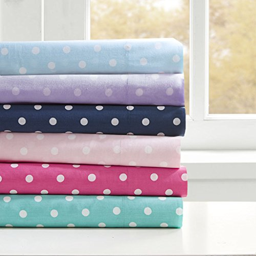Mi-Zone Polka Dot Full Bed Sheets, Casual 100% Cotton Bed Sheet, Seafoam Bed Sheet Set 4-Piece Include Flat Sheet, Fitted Sheet & 2 Pillowcases (Bed Cotton Print Sheet)