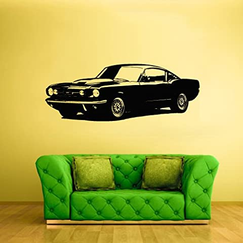 Wall Decal Vinyl Sticker Decals Old School Car Illustration American Muscule Auto (Z2423) - Old School Auto