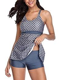 8321dad1a02 SogetsuYo Swimsuit for Women Tankini Bathing Suits 2 Piece Tummy Control Swimwear  Set with Boyshorts