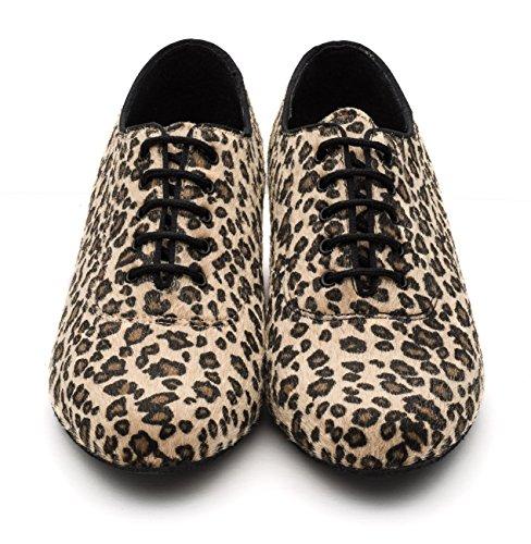 Print Sohle Katz Schuhe Praxis Schnürung Animal Leopard Schwarzer Showtime von Ballsaal Wildleder Dancewear Damen w7x7TqX0