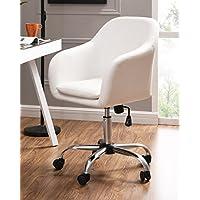IDS Online 18639-W Faux Leather Office Desk Swivel Chair, White