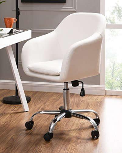 IDS Online 18639-W Faux Leather Office Desk Swivel Chair, White