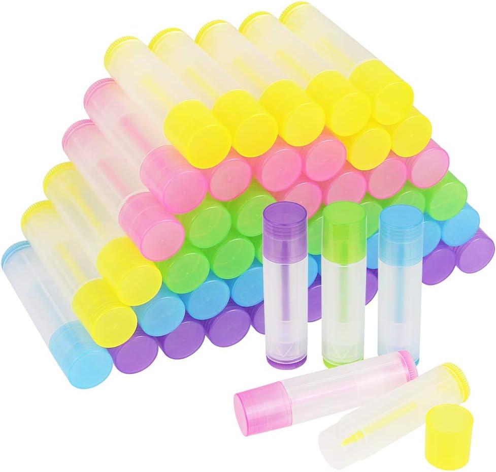 Kbnian 50pcs Envases de Colores para Lapiz Labial con Tapas Transparentes de Rosca, Tubos de Contenedores de Bálsamo Labial, Portátil, Pequeño, 5.5ml, DIY