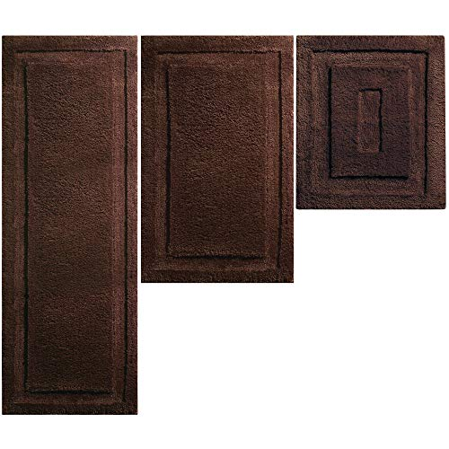 mDesign Soft Microfiber Polyester Spa Rugs for Bathroom Vanity, Tub/Shower - Water Absorbent, Machine Washable - Includes Plush Non-Slip Rectangular Accent Rug Mats - Set of 3 - Chocolate Brown ()