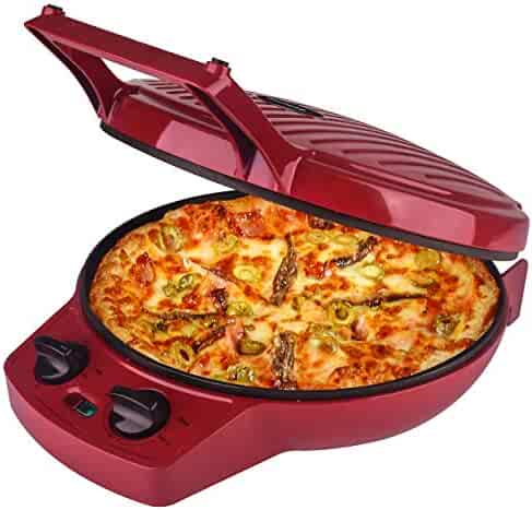 Courant Pizza Maker, 12 Inch Pizza Cooker and Calzone Maker, with Temperatures control, 1440 Watts Pizza Oven convert to Electric indoor Grill, Red