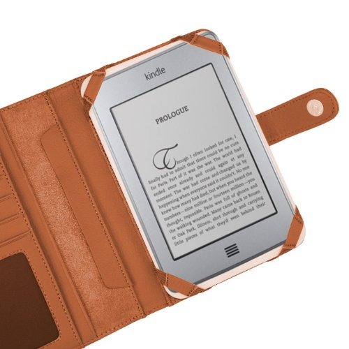 Navitech Genuine Brown Napa Leather Flip Open Book Style Carry Case / Cover & Clip On Flexible Backlight/ Night Light/ Reading Light Compatible With The Compatible With The Amazon Kindle Touch 6 Inch E-reader Touch Device (November 2011 release)