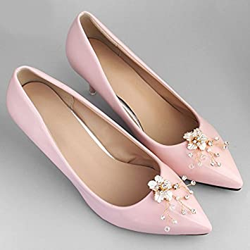 zapatos de novia o dama de honor KERCISBEAUTY diseño floral dorado con cuentas de cristal