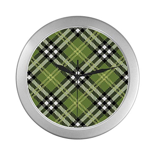 C COABALLA Checkered Simple Silver Color Wall Clock,Classical Celtic Pattern Symmetrical Stripes and Squares Print Decorative for Home Office,9.65