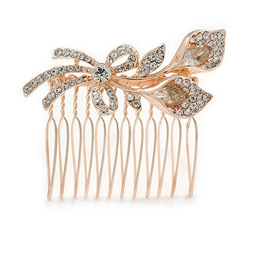 Avalaya Bridal/Wedding/Prom/Party Rose Gold Tone Clear Austrian Crystal Calla Lily Side Hair Comb - 60mm ()