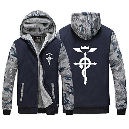 Poetic Walk Fullmetal Alchemist Thick Constract Color Hoodie (Medium, Cross 02)