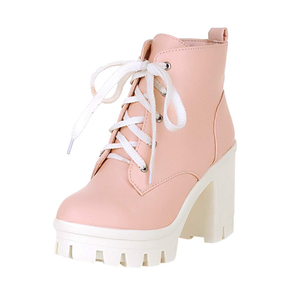 ZOMUSAR Women's Winter Boots Lace-Up Square High Heel Ankle Bare Boots Casual Booties Pink by ZOMUSAR