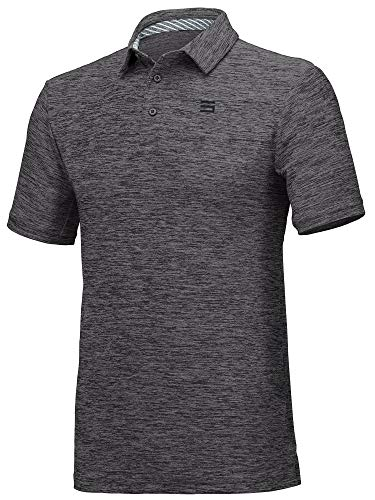 Three Sixty Six Golf Shirts for Men - Dry Fit Short-Sleeve Polo, Athletic Casual Collared T-Shirt Black