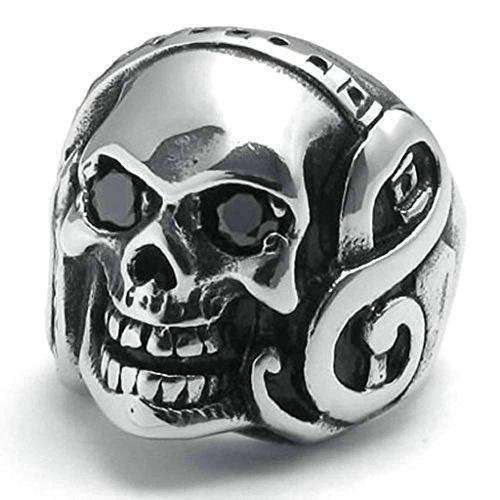 Daesar Stainless Steel Rings Mens Ring Skull Rings Punk Biker Rings Music Note Rings Black CZ Eye Size:12