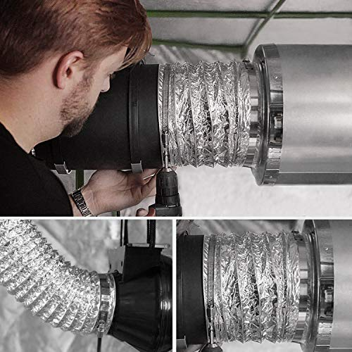 VIVOSUN 6 Inch 25 Feet Non-Insulated Flex Air Aluminum Ducting for HVAC Ventilation w/Two 6 Inch Stainless Steel Clamps