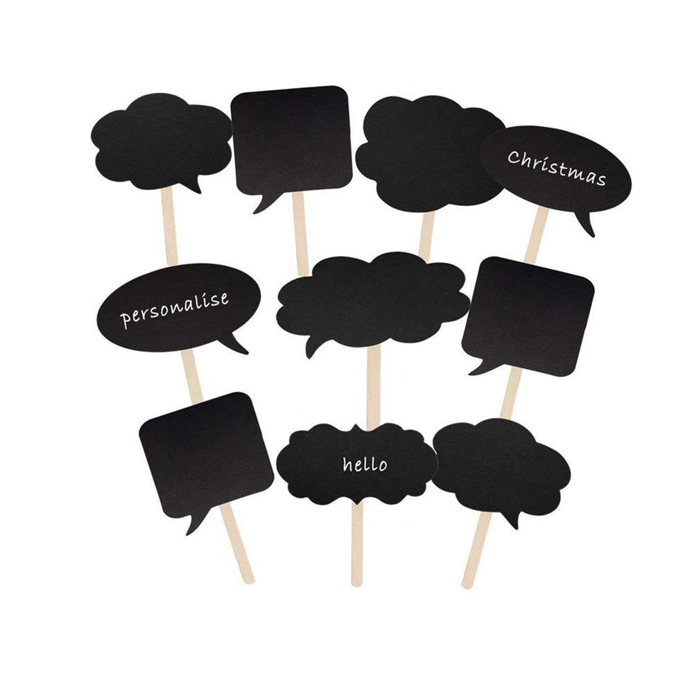 10pcs Grand Mariage Photo Booth Props Party Bricolage Vide Noir Props Message Signes pour Party Mariages