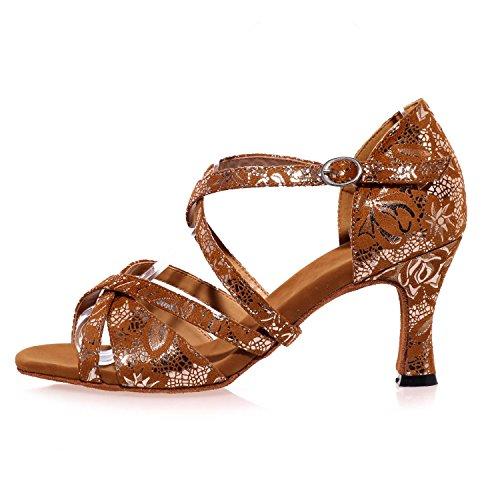 L@YC Mujeres Bailan Los Zapatos Modernos Gamuza / Lentejuelas Cuba Con MáS Color Interior Profesional Brown